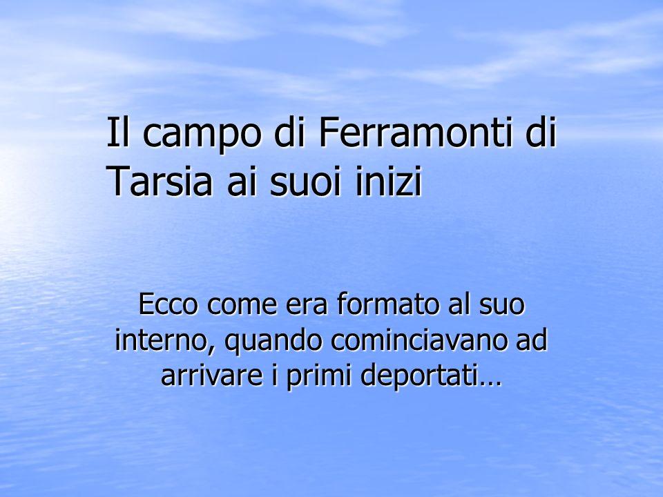 Il campo di Ferramonti di Tarsia ai suoi inizi Ecco come era formato al suo interno, quando cominciavano ad arrivare i primi deportati…