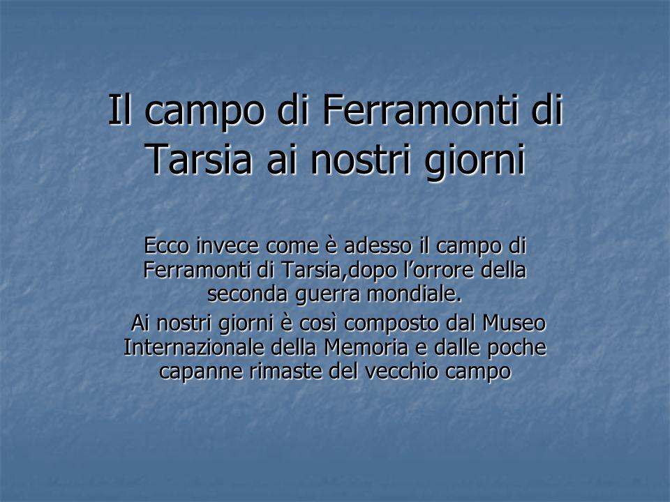 Il campo di Ferramonti di Tarsia ai nostri giorni Ecco invece come è adesso il campo di Ferramonti di Tarsia,dopo lorrore della seconda guerra mondial