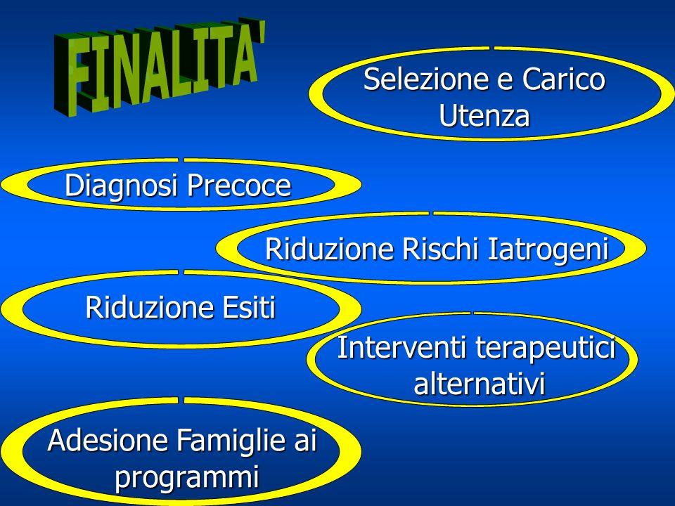 Diagnosi Precoce Selezione e Carico Utenza Riduzione Rischi Iatrogeni Riduzione Esiti Interventi terapeutici alternativi Adesione Famiglie ai programm