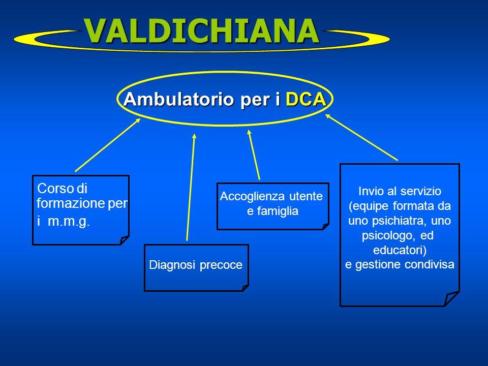 Corso di formazione per i m.m.g. VALDICHIANA Ambulatorio per i DCA Diagnosi precoce Accoglienza utente e famiglia Invio al servizio (equipe formata da