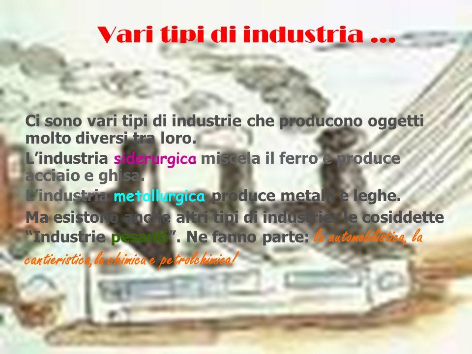 Vari tipi di industria … Ci sono vari tipi di industrie che producono oggetti molto diversi tra loro. Lindustria siderurgica miscela il ferro e produc