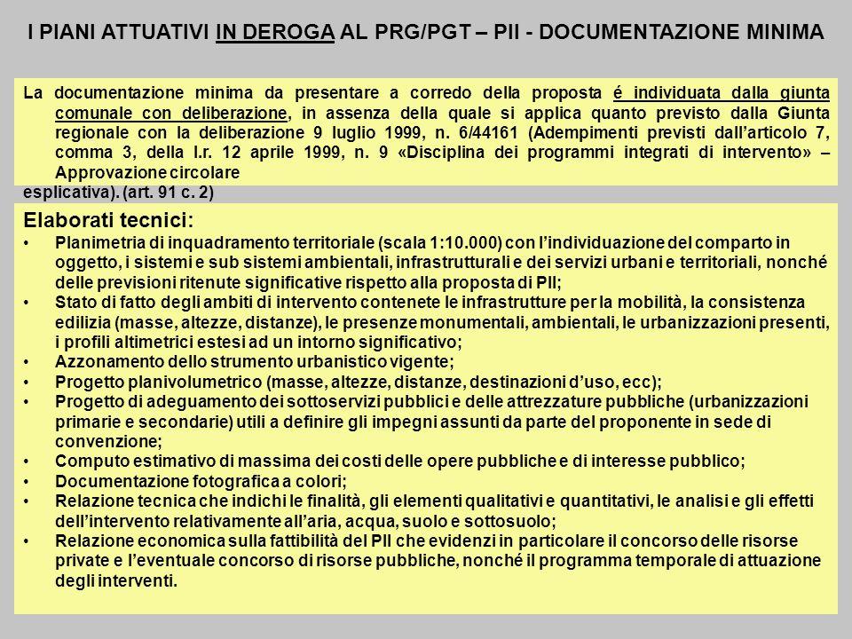 I PIANI ATTUATIVI IN DEROGA AL PRG/PGT – PII - DOCUMENTAZIONE MINIMA La documentazione minima da presentare a corredo della proposta é individuata dal