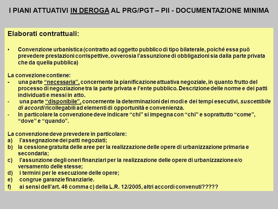 I PIANI ATTUATIVI IN DEROGA AL PRG/PGT – PII - DOCUMENTAZIONE MINIMA Elaborati contrattuali: Convenzione urbanistica (contratto ad oggetto pubblico di
