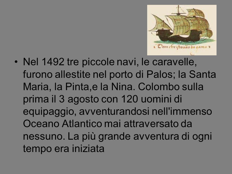La traversata dell Atlantico durò oltre due mesi, tra il malcontento degli uomini dell equipaggio a cui Colombo spesso doveva nascondere la reale distanza compiuta per non scoraggiarli.