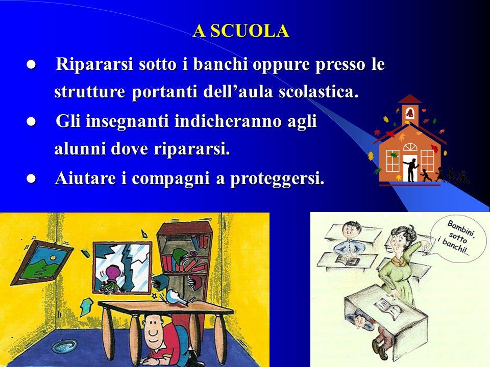 A SCUOLA A SCUOLA Ripararsi sotto i banchi oppure presso le Ripararsi sotto i banchi oppure presso le strutture portanti dellaula scolastica. struttur