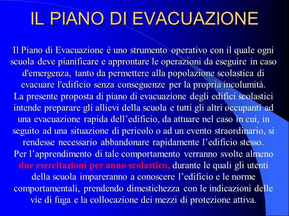 Il Piano di Evacuazione è uno strumento operativo con il quale ogni scuola deve pianificare e approntare le operazioni da eseguire in caso d'emergenza