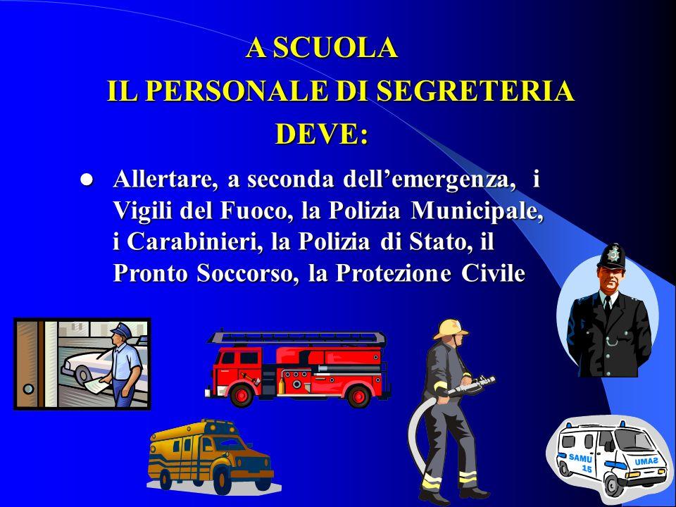 Allertare, a seconda dellemergenza, i Vigili del Fuoco, la Polizia Municipale, i Carabinieri, la Polizia di Stato, il Pronto Soccorso, la Protezione C