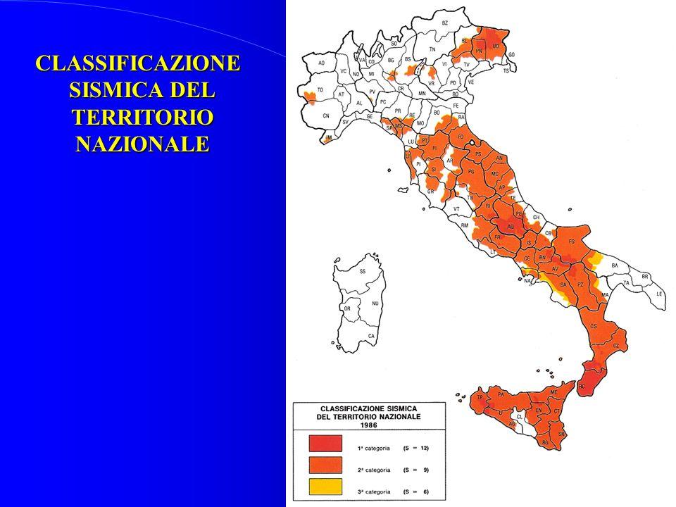CLASSIFICAZIONE SISMICA DEL TERRITORIONAZIONALE
