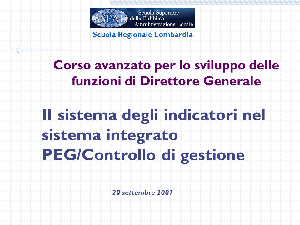 Corso avanzato per lo sviluppo delle funzioni di Direttore Generale 20 settembre 2007 Scuola Regionale Lombardia Il sistema degli indicatori nel sistema integrato PEG/Controllo di gestione