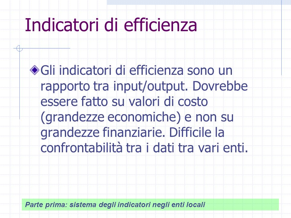 Indicatori di efficienza Gli indicatori di efficienza sono un rapporto tra input/output.