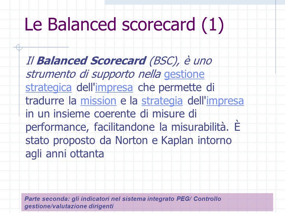 Le Balanced scorecard (1) Il Balanced Scorecard (BSC), è uno strumento di supporto nella gestione strategica dell impresa che permette di tradurre la mission e la strategia dell impresa in un insieme coerente di misure di performance, facilitandone la misurabilità.