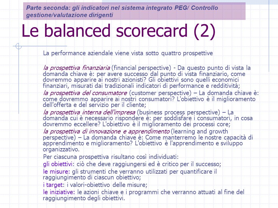 Le balanced scorecard (2) La performance aziendale viene vista sotto quattro prospettive la prospettiva finanziaria (financial perspective) - Da questo punto di vista la domanda chiave è: per avere successo dal punto di vista finanziario, come dovremmo apparire ai nostri azionisti.
