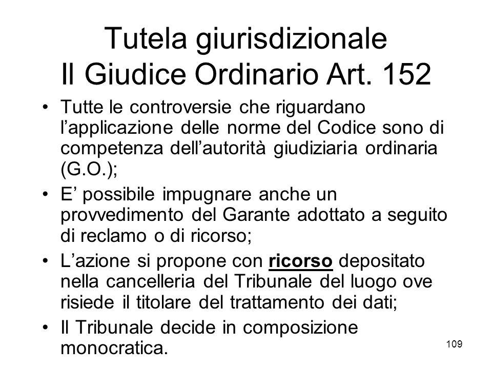 109 Tutela giurisdizionale Il Giudice Ordinario Art. 152 Tutte le controversie che riguardano lapplicazione delle norme del Codice sono di competenza