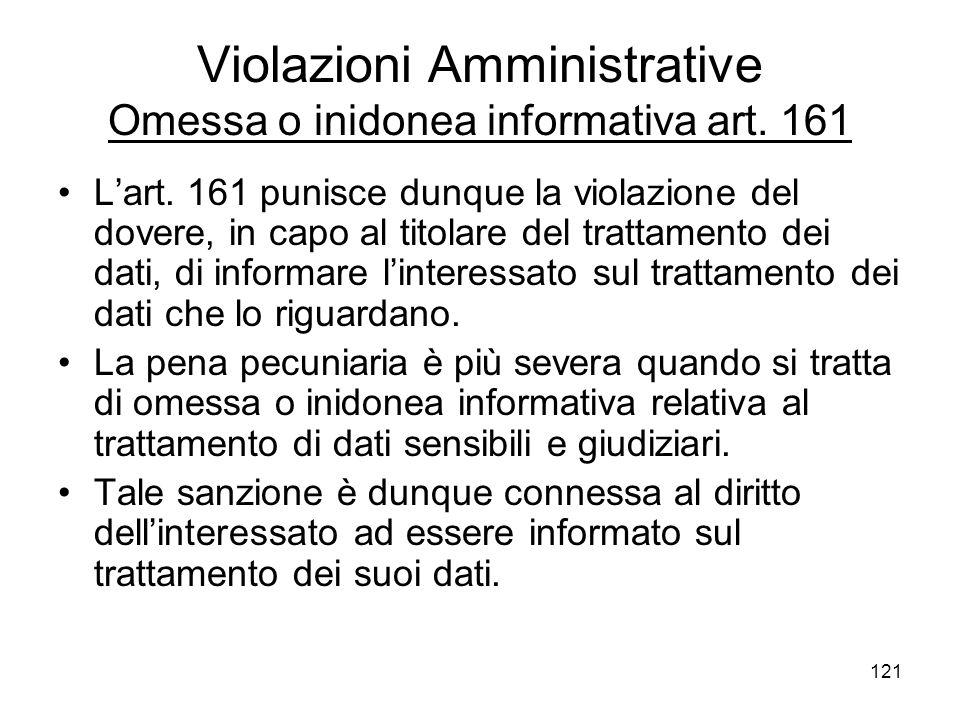 121 Violazioni Amministrative Omessa o inidonea informativa art. 161 Lart. 161 punisce dunque la violazione del dovere, in capo al titolare del tratta