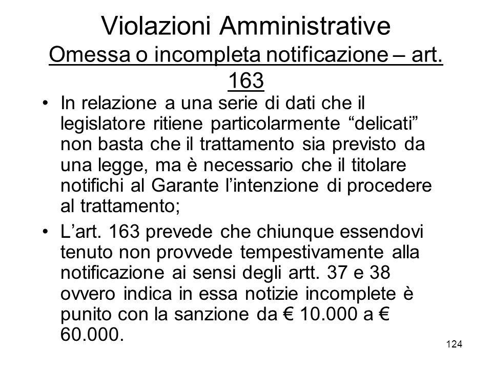 124 Violazioni Amministrative Omessa o incompleta notificazione – art. 163 In relazione a una serie di dati che il legislatore ritiene particolarmente