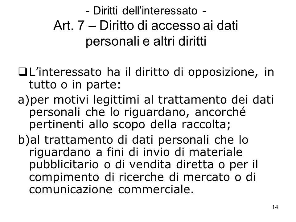 14 - Diritti dellinteressato - Art. 7 – Diritto di accesso ai dati personali e altri diritti Linteressato ha il diritto di opposizione, in tutto o in