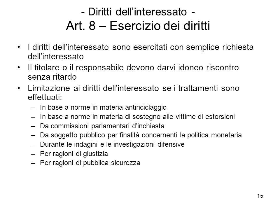 15 - Diritti dellinteressato - Art. 8 – Esercizio dei diritti I diritti dellinteressato sono esercitati con semplice richiesta dellinteressato Il tito