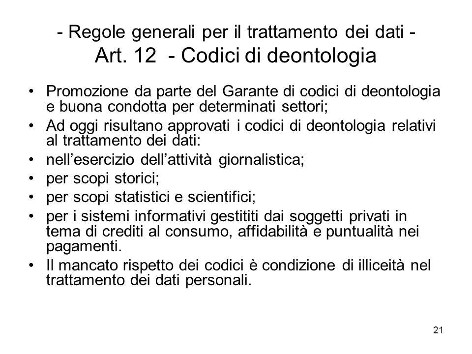 21 - Regole generali per il trattamento dei dati - Art. 12 - Codici di deontologia Promozione da parte del Garante di codici di deontologia e buona co