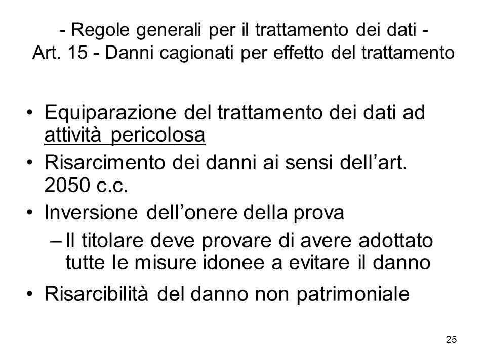 25 - Regole generali per il trattamento dei dati - Art. 15 - Danni cagionati per effetto del trattamento Equiparazione del trattamento dei dati ad att
