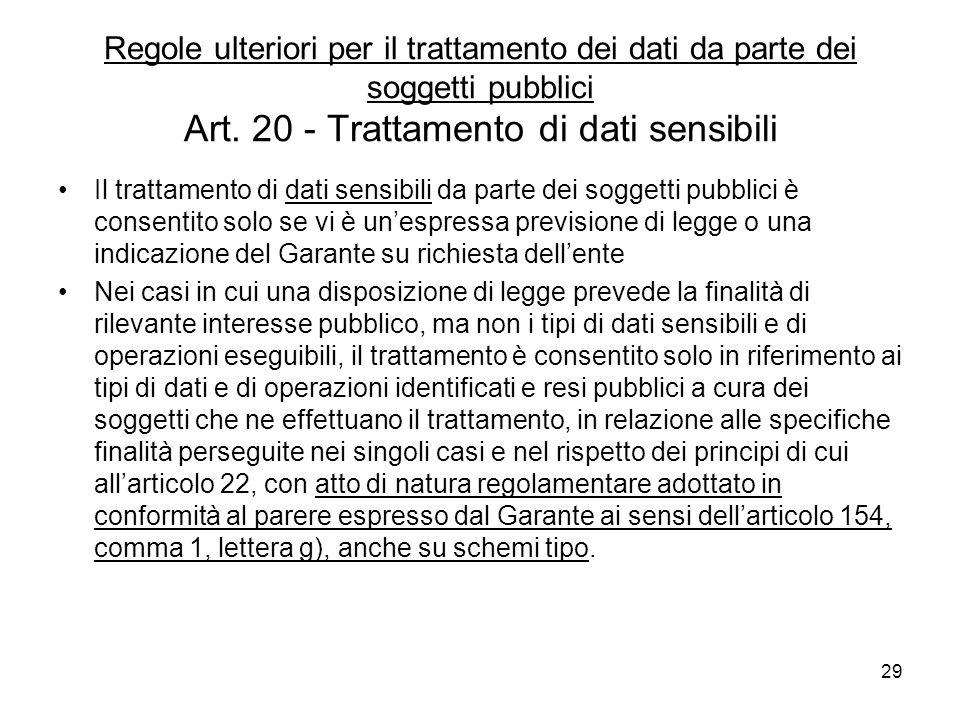 29 Regole ulteriori per il trattamento dei dati da parte dei soggetti pubblici Art. 20 - Trattamento di dati sensibili Il trattamento di dati sensibil