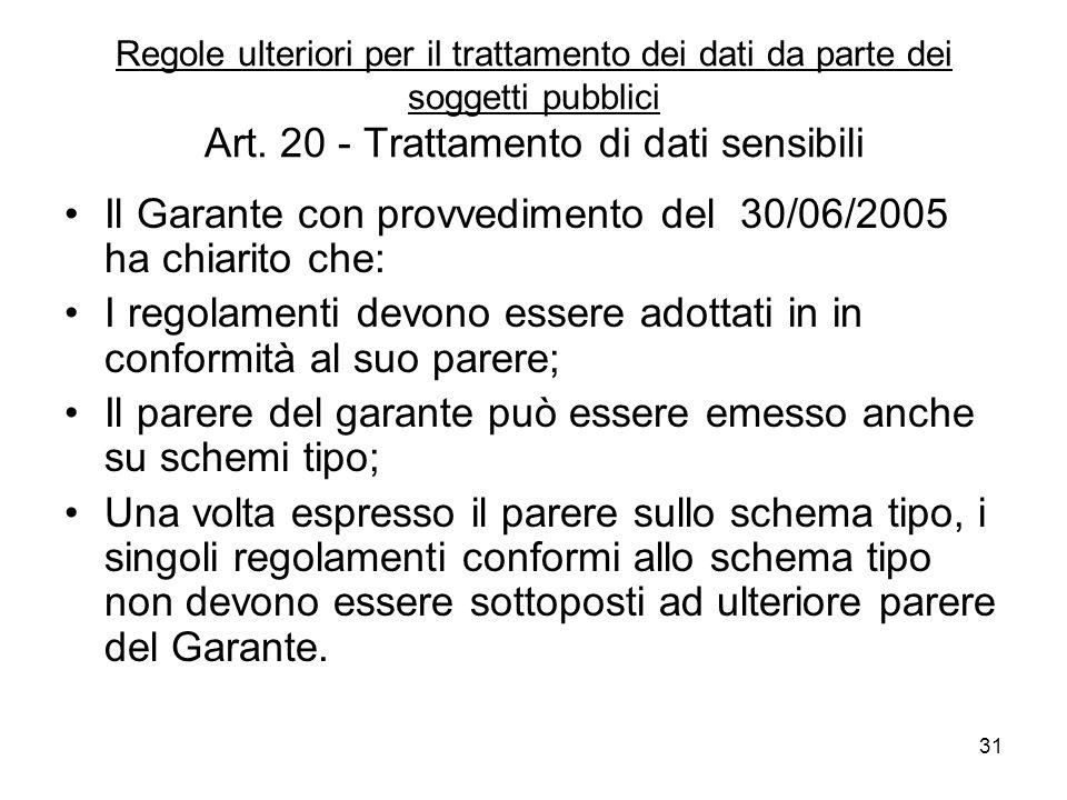 31 Regole ulteriori per il trattamento dei dati da parte dei soggetti pubblici Art. 20 - Trattamento di dati sensibili Il Garante con provvedimento de