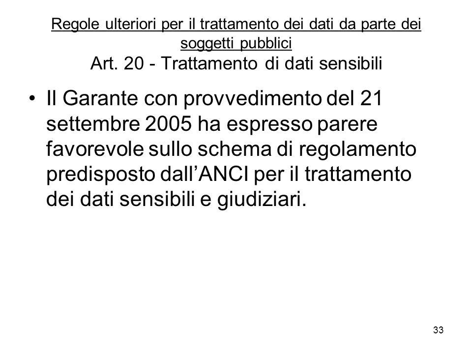 33 Regole ulteriori per il trattamento dei dati da parte dei soggetti pubblici Art. 20 - Trattamento di dati sensibili Il Garante con provvedimento de