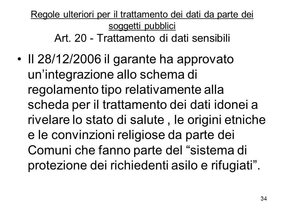 34 Regole ulteriori per il trattamento dei dati da parte dei soggetti pubblici Art. 20 - Trattamento di dati sensibili Il 28/12/2006 il garante ha app