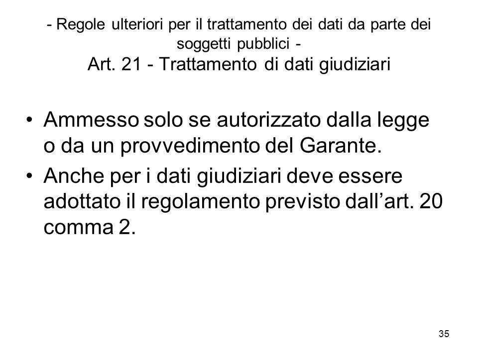 35 - Regole ulteriori per il trattamento dei dati da parte dei soggetti pubblici - Art. 21 - Trattamento di dati giudiziari Ammesso solo se autorizzat