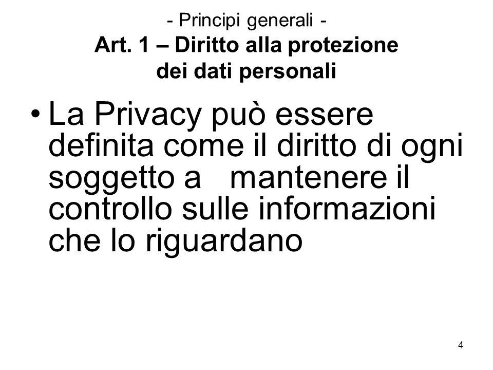 4 - Principi generali - Art. 1 – Diritto alla protezione dei dati personali La Privacy può essere definita come il diritto di ogni soggetto a mantener