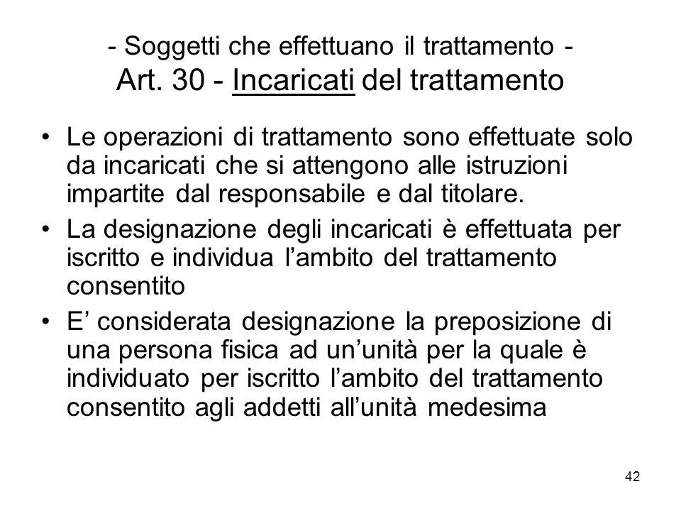 42 - Soggetti che effettuano il trattamento - Art. 30 - Incaricati del trattamento Le operazioni di trattamento sono effettuate solo da incaricati che