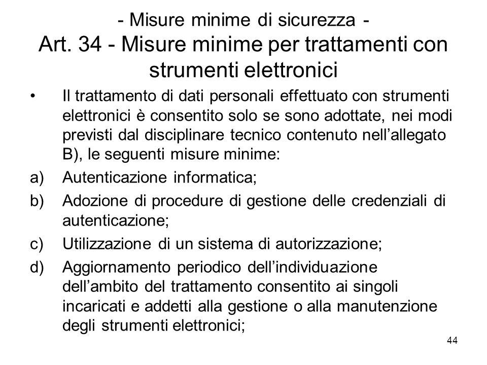 44 - Misure minime di sicurezza - Art. 34 - Misure minime per trattamenti con strumenti elettronici Il trattamento di dati personali effettuato con st