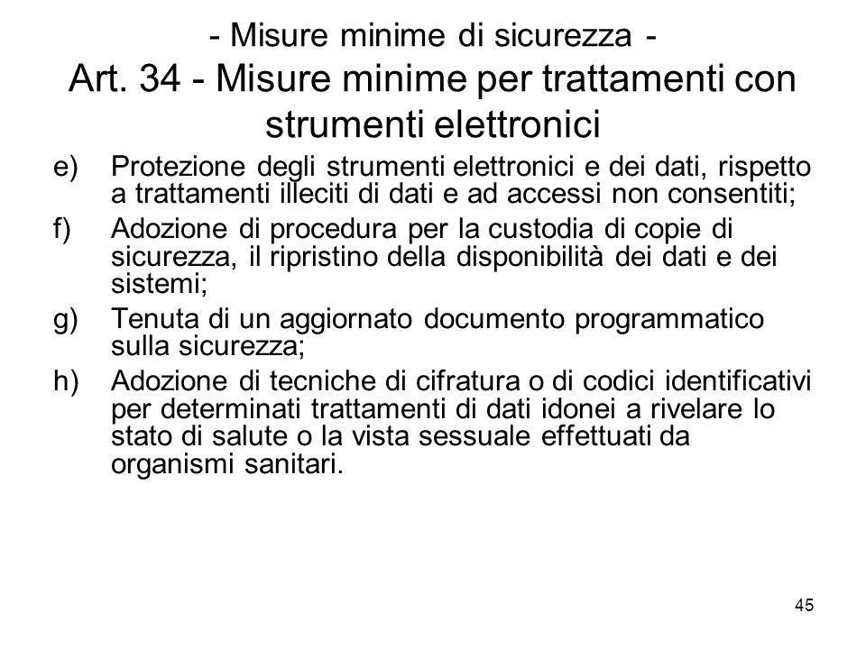 45 - Misure minime di sicurezza - Art. 34 - Misure minime per trattamenti con strumenti elettronici e)Protezione degli strumenti elettronici e dei dat
