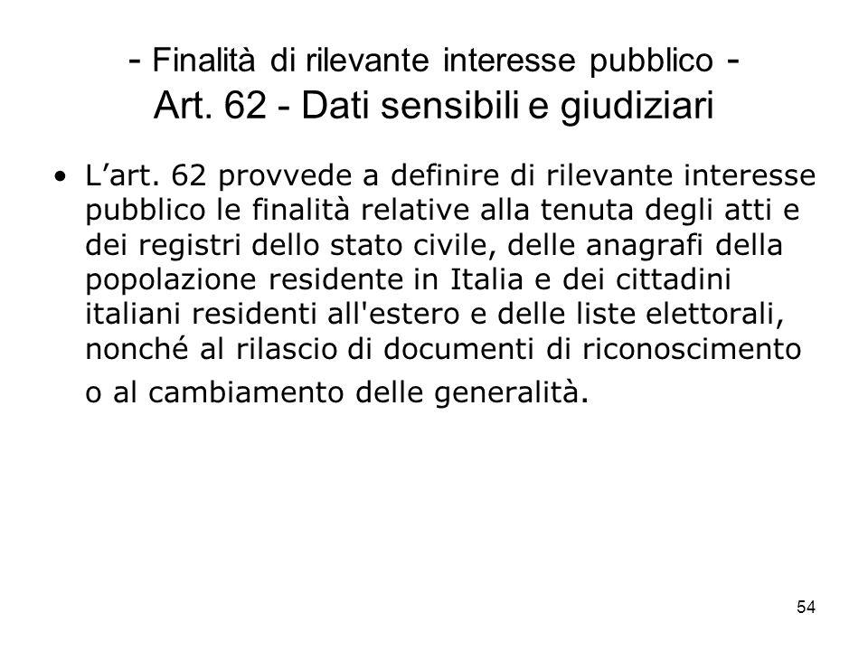 54 - Finalità di rilevante interesse pubblico - Art. 62 - Dati sensibili e giudiziari Lart. 62 provvede a definire di rilevante interesse pubblico le