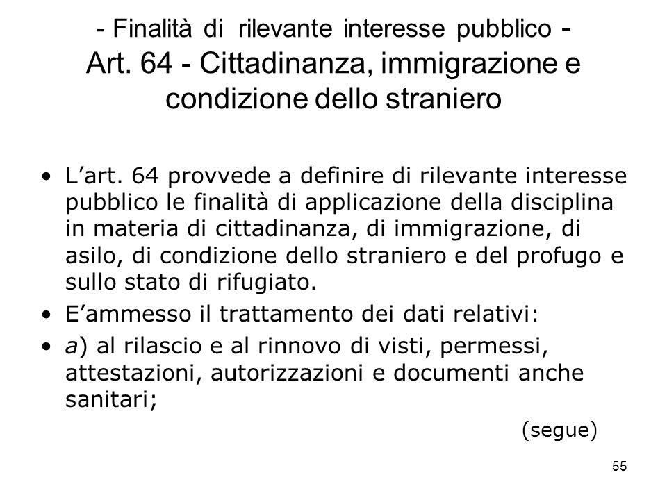 55 - Finalità di rilevante interesse pubblico - Art. 64 - Cittadinanza, immigrazione e condizione dello straniero Lart. 64 provvede a definire di rile