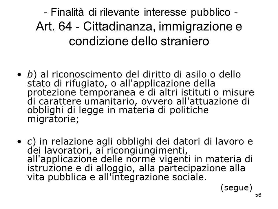 56 - Finalità di rilevante interesse pubblico - Art. 64 - Cittadinanza, immigrazione e condizione dello straniero b) al riconoscimento del diritto di