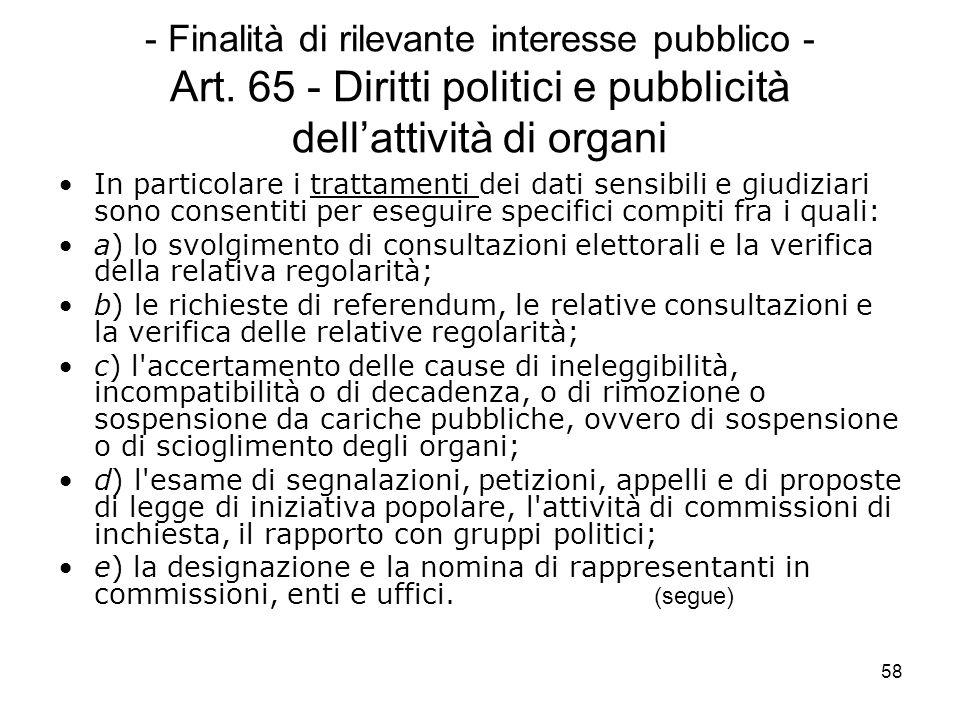 58 - Finalità di rilevante interesse pubblico - Art. 65 - Diritti politici e pubblicità dellattività di organi In particolare i trattamenti dei dati s