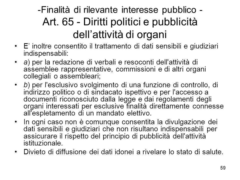 59 -Finalità di rilevante interesse pubblico - Art. 65 - Diritti politici e pubblicità dellattività di organi E inoltre consentito il trattamento di d