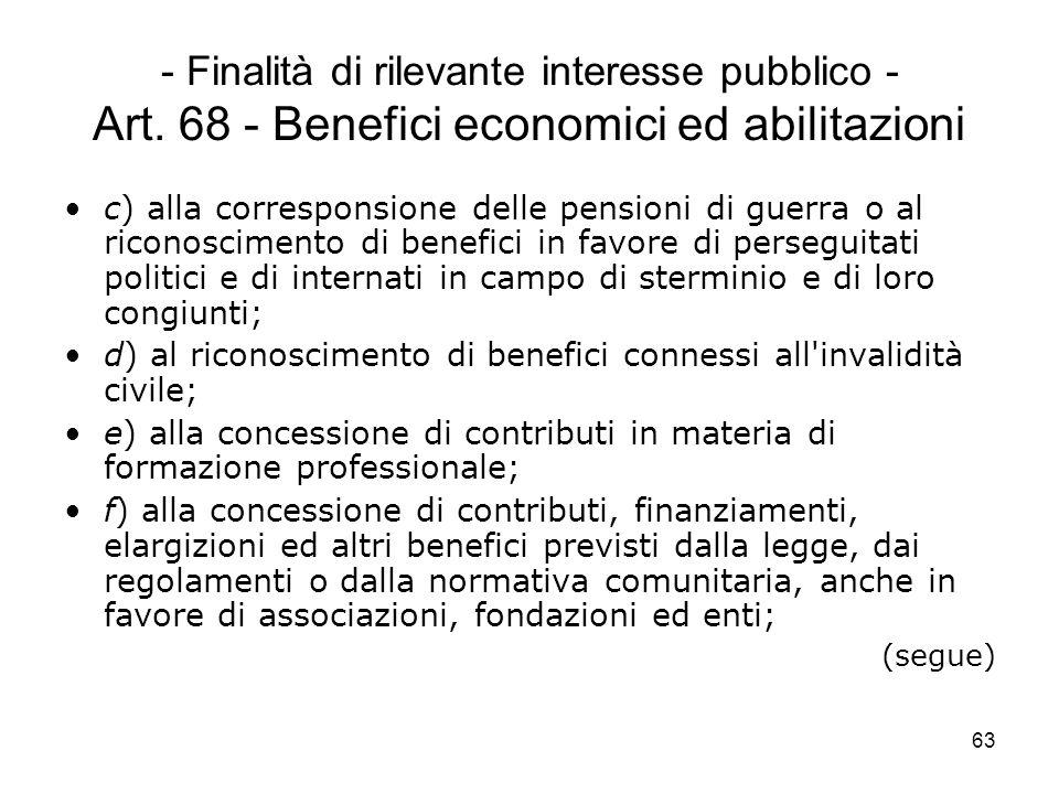 63 - Finalità di rilevante interesse pubblico - Art. 68 - Benefici economici ed abilitazioni c) alla corresponsione delle pensioni di guerra o al rico