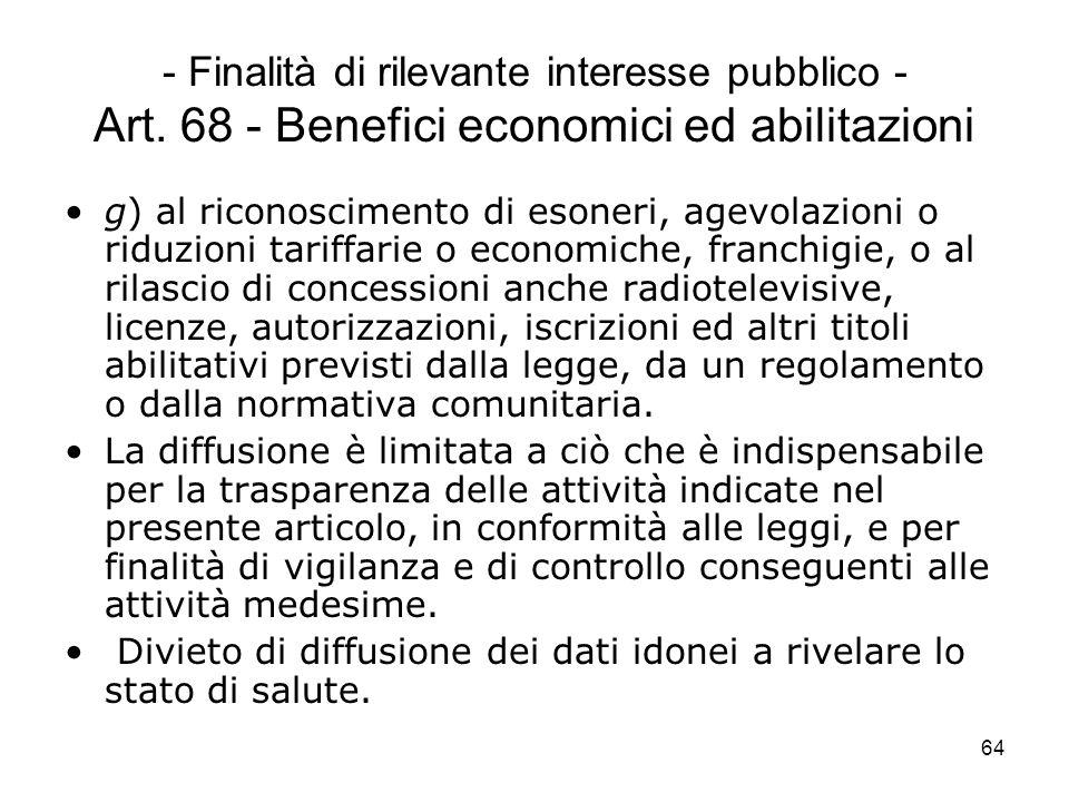 64 - Finalità di rilevante interesse pubblico - Art. 68 - Benefici economici ed abilitazioni g) al riconoscimento di esoneri, agevolazioni o riduzioni