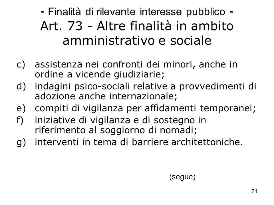 71 - Finalità di rilevante interesse pubblico - Art. 73 - Altre finalità in ambito amministrativo e sociale c)assistenza nei confronti dei minori, anc
