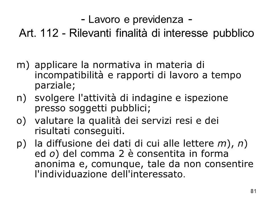 81 - Lavoro e previdenza - Art. 112 - Rilevanti finalità di interesse pubblico m)applicare la normativa in materia di incompatibilità e rapporti di la