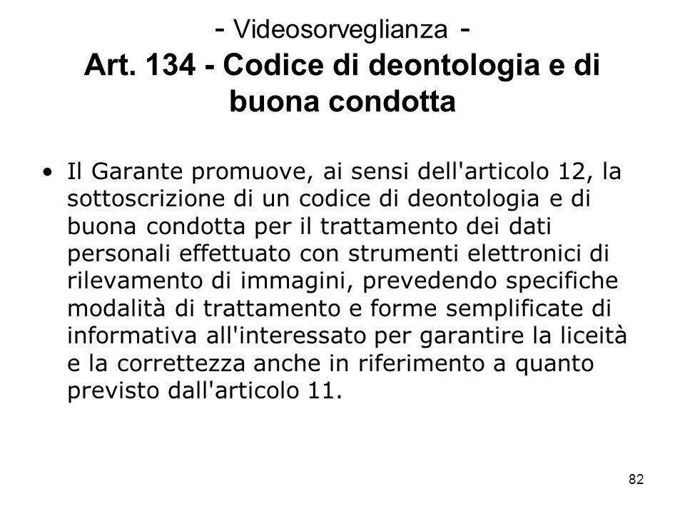 82 - Videosorveglianza - Art. 134 - Codice di deontologia e di buona condotta Il Garante promuove, ai sensi dell'articolo 12, la sottoscrizione di un