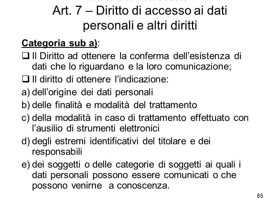 85 - Diritti dellinteressato - Art. 7 – Diritto di accesso ai dati personali e altri diritti Categoria sub a): Il Diritto ad ottenere la conferma dell