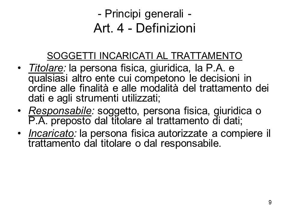 9 - Principi generali - Art. 4 - Definizioni SOGGETTI INCARICATI AL TRATTAMENTO Titolare: la persona fisica, giuridica, la P.A. e qualsiasi altro ente