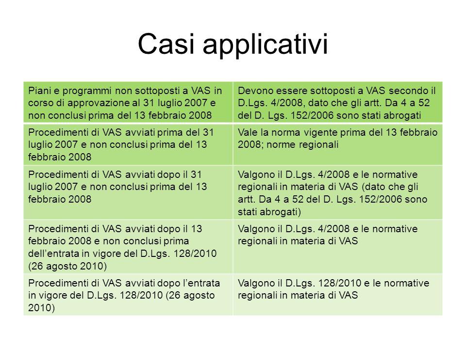Casi applicativi Piani e programmi non sottoposti a VAS in corso di approvazione al 31 luglio 2007 e non conclusi prima del 13 febbraio 2008 Devono essere sottoposti a VAS secondo il D.Lgs.