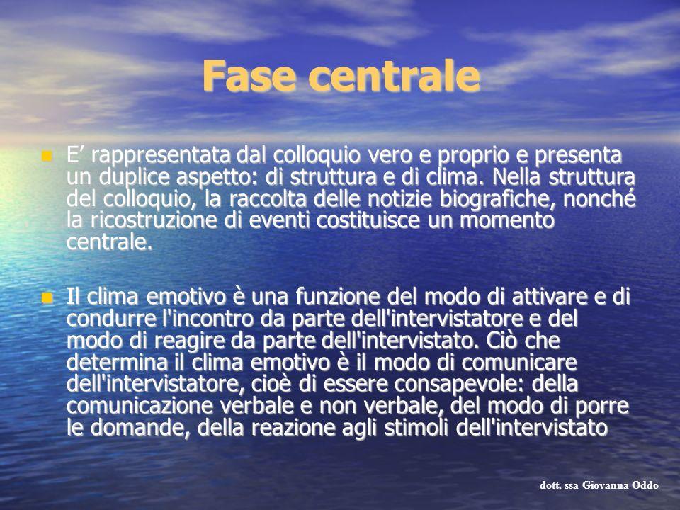 Fase centrale E rappresentata dal colloquio vero e proprio e presenta un duplice aspetto: di struttura e di clima. Nella struttura del colloquio, la r