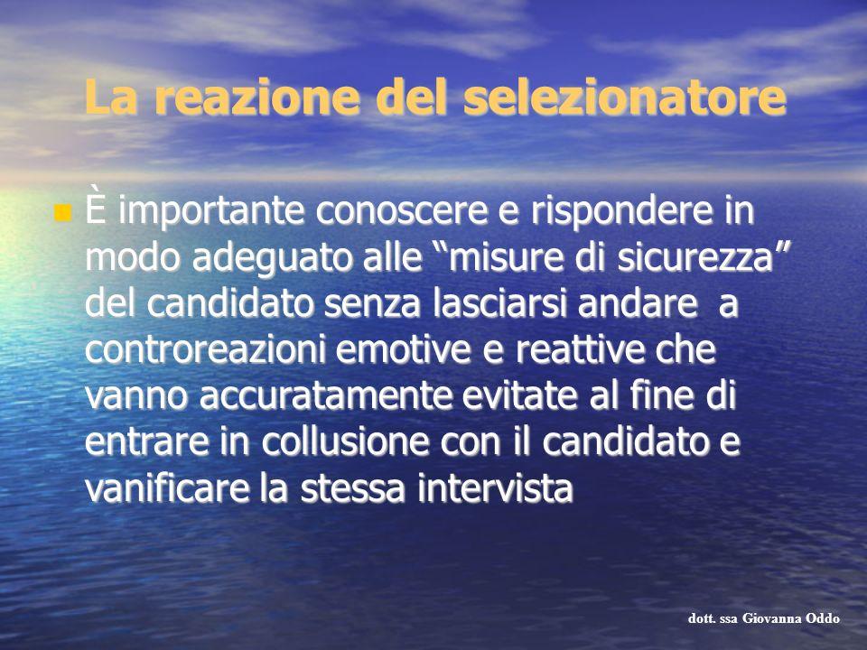 La reazione del selezionatore È importante conoscere e rispondere in modo adeguato alle misure di sicurezza del candidato senza lasciarsi andare a con