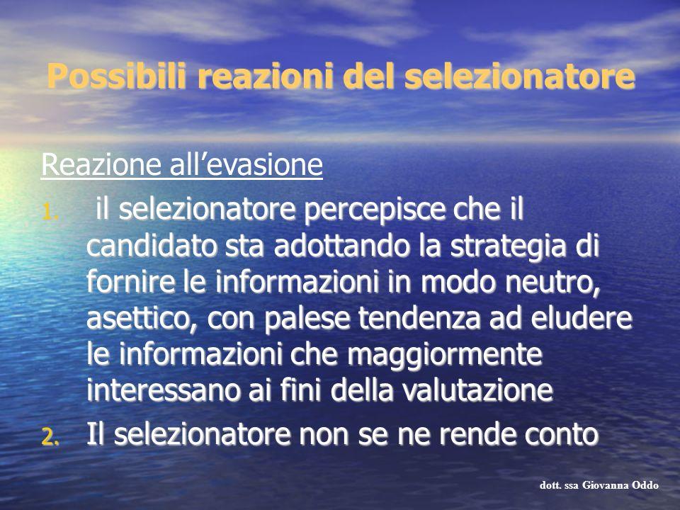 Possibili reazioni del selezionatore Reazione allevasione 1. il selezionatore percepisce che il candidato sta adottando la strategia di fornire le inf