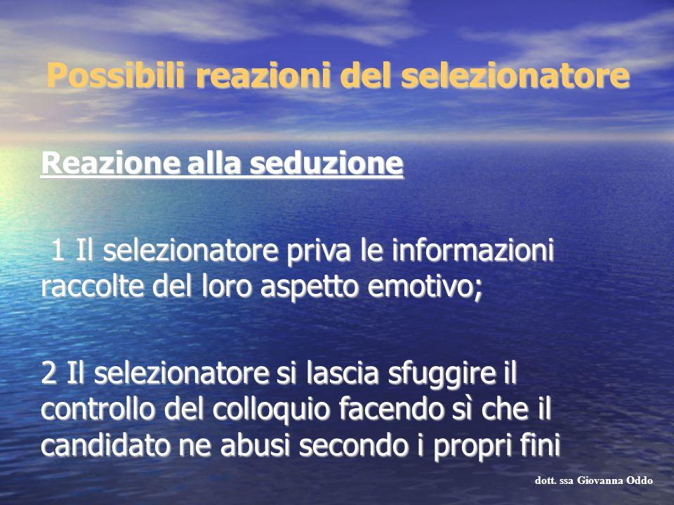 Reazione alla seduzione 1 Il selezionatore priva le informazioni raccolte del loro aspetto emotivo; 1 Il selezionatore priva le informazioni raccolte