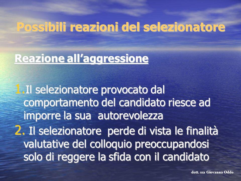 Reazione allaggressione 1. Il selezionatore provocato dal comportamento del candidato riesce ad imporre la sua autorevolezza 2. Il selezionatore perde